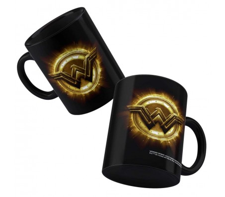 Justice League Wonder Woman Logo DC Comics Ceramic Coffee Mug Black - Birthday Gift Idea Licensed By WB