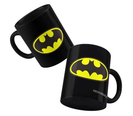 Batman Logo Black Coffee Mug Black/Yellow Perfect Gift Option For Batman Lovers. Birthday Gift Idea Licensed By WB