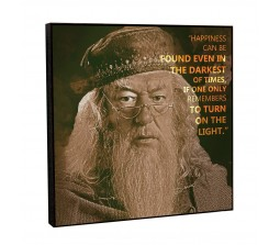Harry Potter Dumbledore Happiness Can Be Found in Darkest of Time Motivational Inpirational Quote Pop Art Wooden Frame Poster