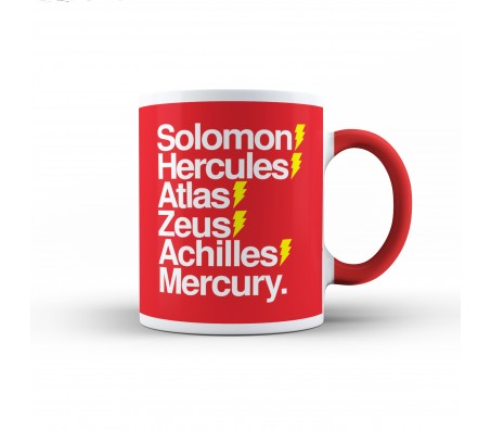 Dc Comic Shazam Superhero Design Red Solomon Hercules Quote White Ceramic Coffee/Tea Mug with Red Handle