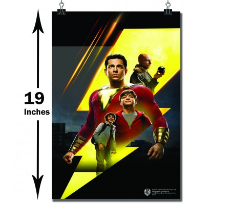 Shazam Movie Logo with Doctor Sivana Billy Batson Freddy and Shazam Poster Officially Licensed by Warner Bros