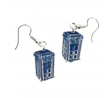 Blue Color Doctor Who TARDIS Silver and Enamel Dangle Earrings for Women/Girls