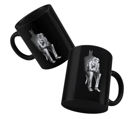 Happy GiftMart Batman Shadow and Joker Sitting Sketch Ceramic Matte Black Tea/Coffee Mug Qty 1