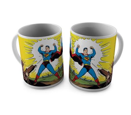 Superman in Action Getting Shot Ceramic White Tea/Coffee Mug Qty 1