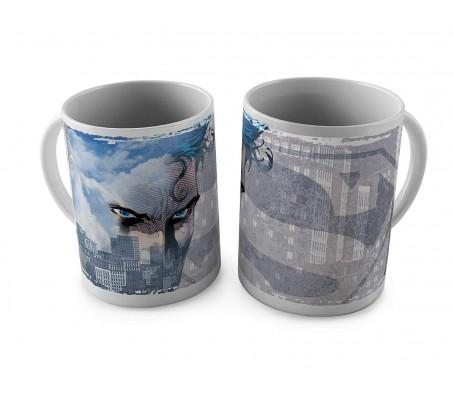 Superman Blue Eyes and A Shadow of His Logo On The City Ceramic White Tea/Coffee Mug Qty 1