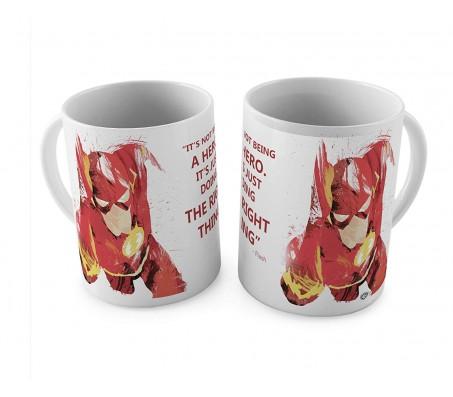 Flash Its Not Being A Hero Its Just That Doing The Right Thing Guidance Quote White and Red Ceramic Coffee Mug Quantity 1