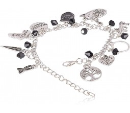 Black Panther Multiple Charm Alloy Silver Bracelet