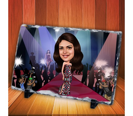 Customized Caricature in Fashion Show on Rectangle Shape Rocks