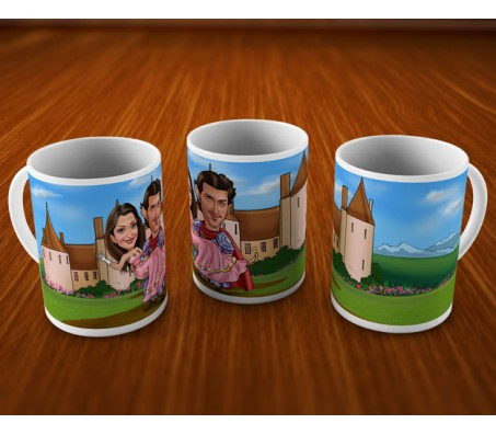 Personalized Couple Caricature at the Castle On Mugs