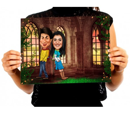 Customized Couple Caricature inside Palace Garden on A4 Poster