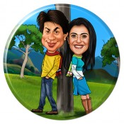 Caricature Glass Frame For Couples