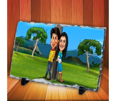 Customized Couple Caricature in Romantic Forest on Rectangle Shape Rocks