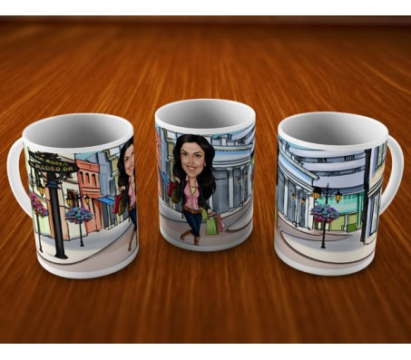 Customized Caricature In Shopping Market On Mugs