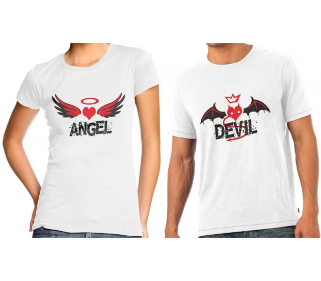 Angel Amp Devil Couple T Shirts