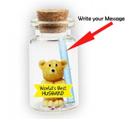 Message in A Bottle With Teddy & Worlds Best Husband Cut