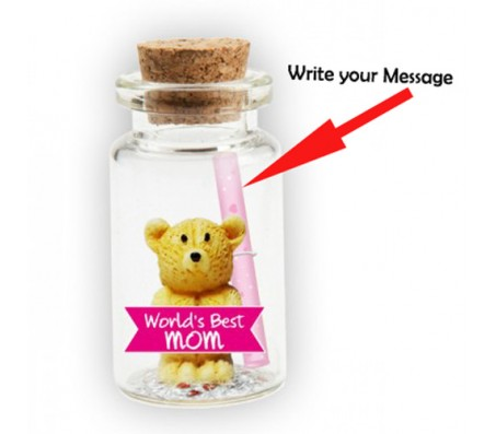 Message in A Bottle With Teddy & Worlds Best Mom Cut