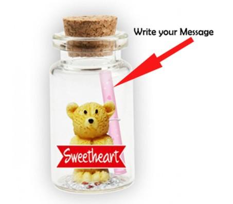 Message in A Bottle With Teddy & Sweet Heart Cut