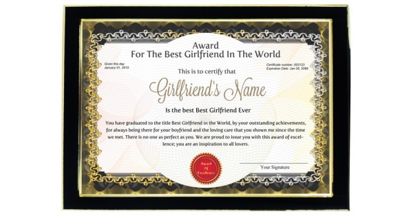 Personalized Award Certificate For Worlds Best Girlfriend