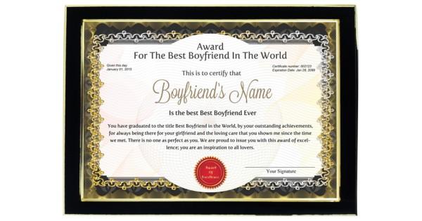 Personalized Award Certificate For Worlds Best Boyfriend